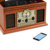 Image of Victrola 6-in-1 Nostalgic Bluetooth Record Player with 3-speed Turntable with CD and Cassette