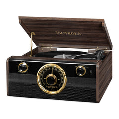 Victrola Bluetooth Mid Centry Record Player with 3-speed Turntable and Radio