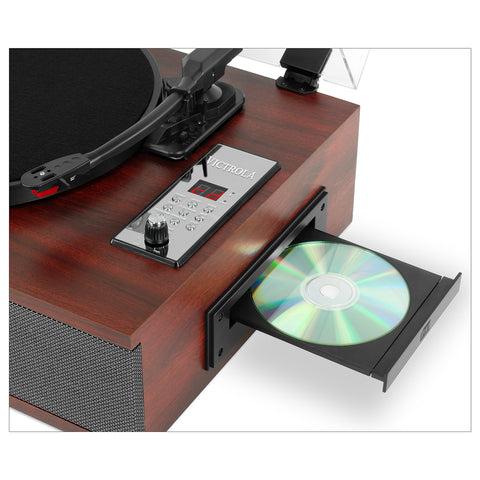 Victrola 5-in-1 Bluetooth Record Player with 3-Speed Turntable, CD and Radio