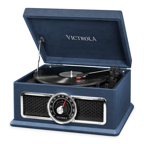 Victrola's 4-in-1 Nostalgic Bluetooth Record Player with 3-Speed Turntable and FM Radio, Black
