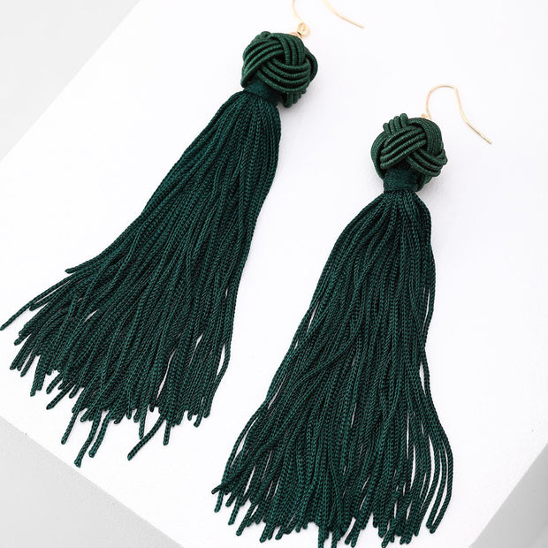 Long Tassel Earrings (Green)