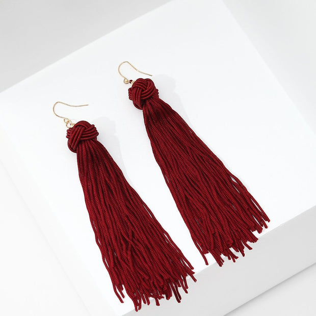 Long Tassel Earrings (Red)