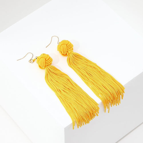 Long Tassel Earrings (Yellow)