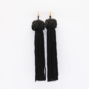 Long Tassel Earrings (Black)
