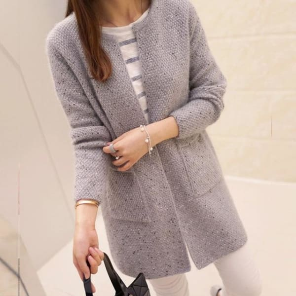 Autumn Long Sleeve Crochet - Gray / S - Jacket
