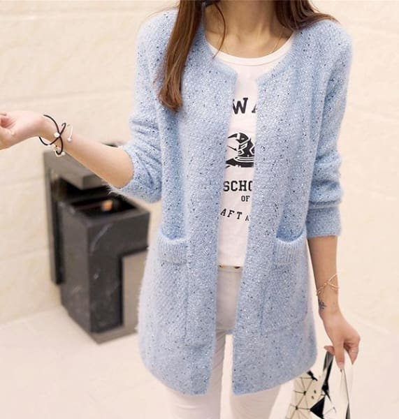 Autumn Long Sleeve Crochet - Light Blue / S - Jacket