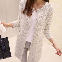 Autumn Long Sleeve Crochet - Light Gray / S - Jacket
