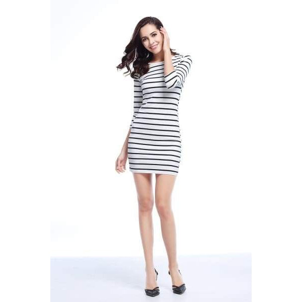 Black And White Long Sleeve - Black Stripe / M - Dress