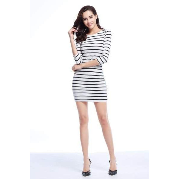 Black And White Long Sleeve - Black Stripe / Xl - Dress