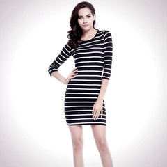 Black And White Long Sleeve - Dress