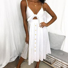 Bow Backless - 0849White / L - Dress