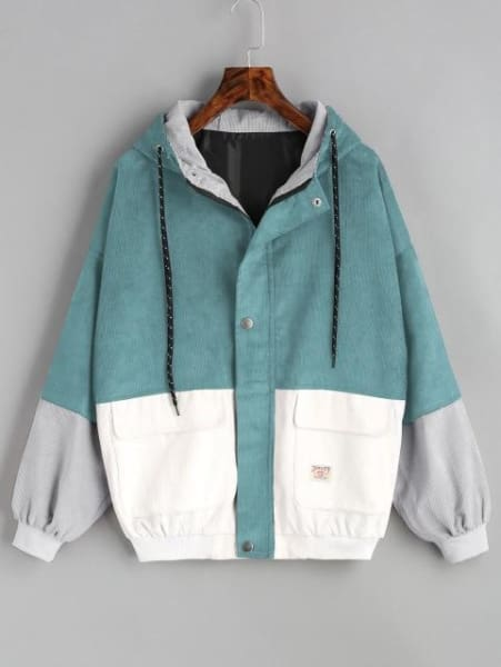 Color Patched Women Coat - Blue Green / Xl - Jacket