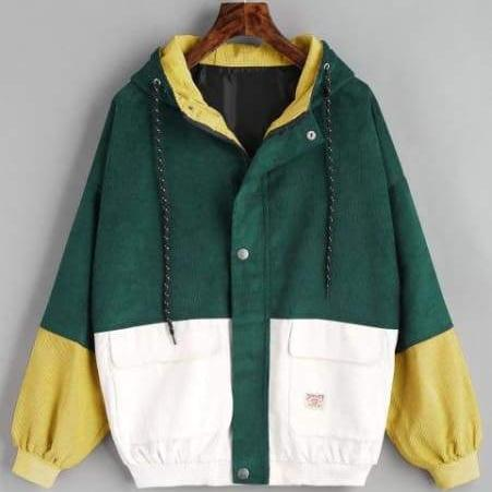 Color Patched Women Coat - Deep Green / Xl - Jacket