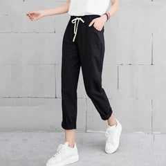 Cotton Pants - Black / S - Bottomwomen