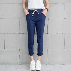 Cotton Pants - Blue / S - Bottomwomen