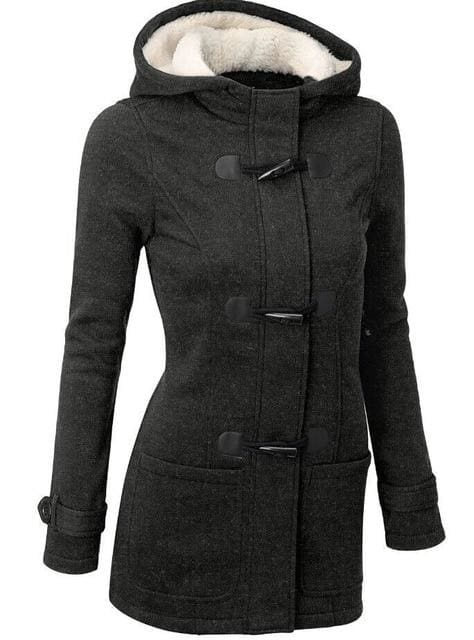 Long Hooded Coat - Dark Grey / S - Jacket