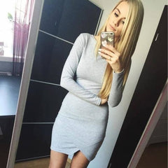 Long Sleeve Basic - Gray / S - Dress