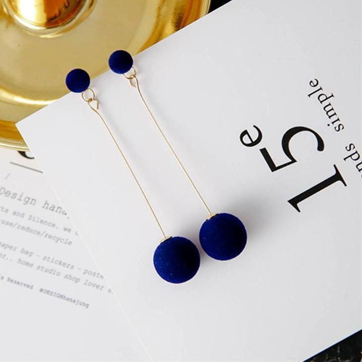 Plush Ball Earrings - Blue - Earrings