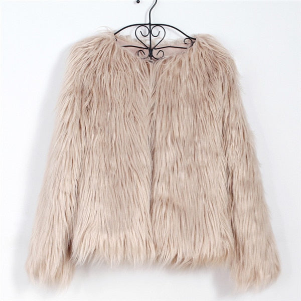 Furry Fur Coat Women Fluffy Warm Long Sleeve Outerwear Autumn Winter Coat Jacket Hairy Collarless Overcoat Plus Size 3XL 6Q0205