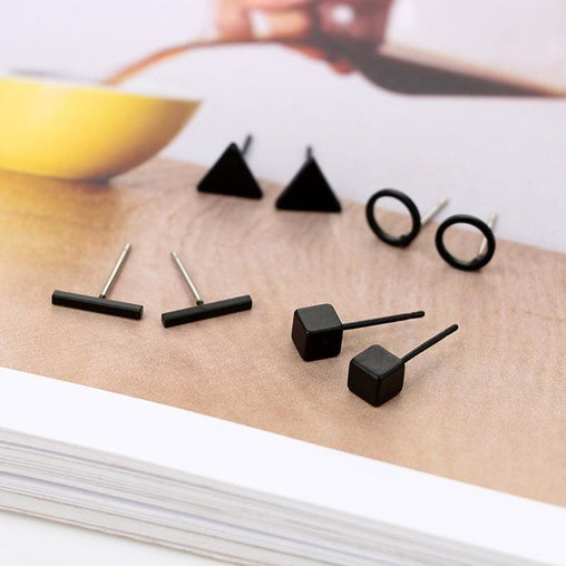 Round Triangle Shaped 4 Pair - Earrings