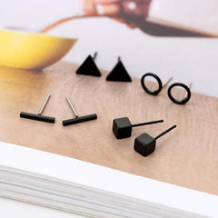 Round Triangle Shaped 4 Pair - Black - Earrings
