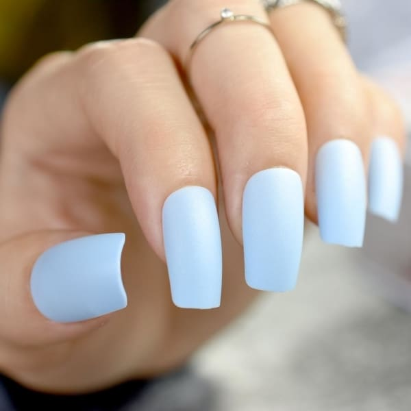 Sky Blue Press On Stiletto Nails Long Press On Nails - Makeup