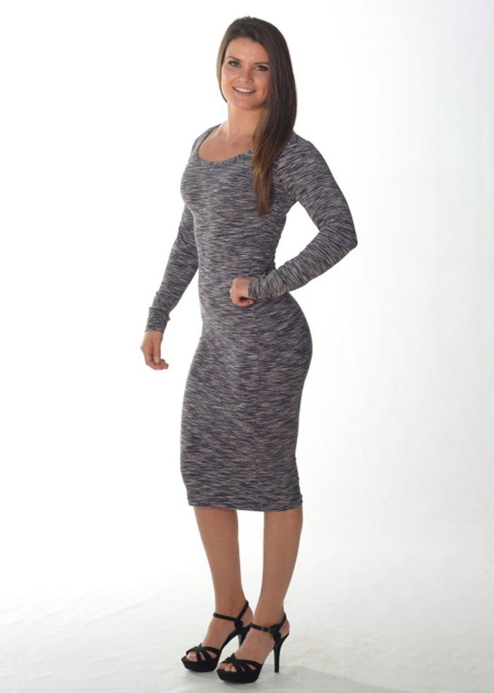 Long Sleeve Cocktail Dress (Grey Swirl)