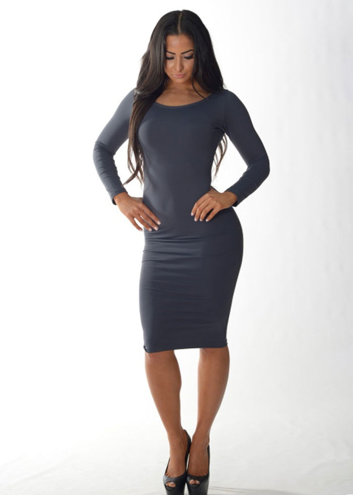 Long Sleeve Cocktail Dress (Grey)