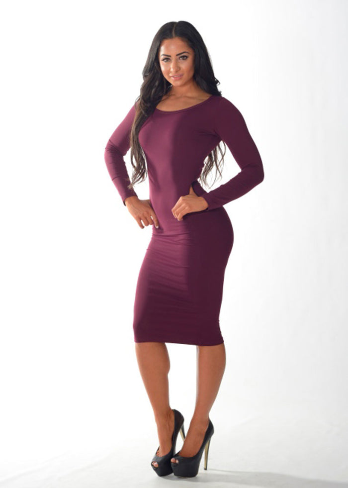 1955fa8f7cf Long Sleeve Cocktail Dress (Plum) – Black and Blue Fashion