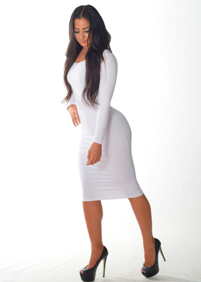 Long Sleeve Cocktail Dress (White)