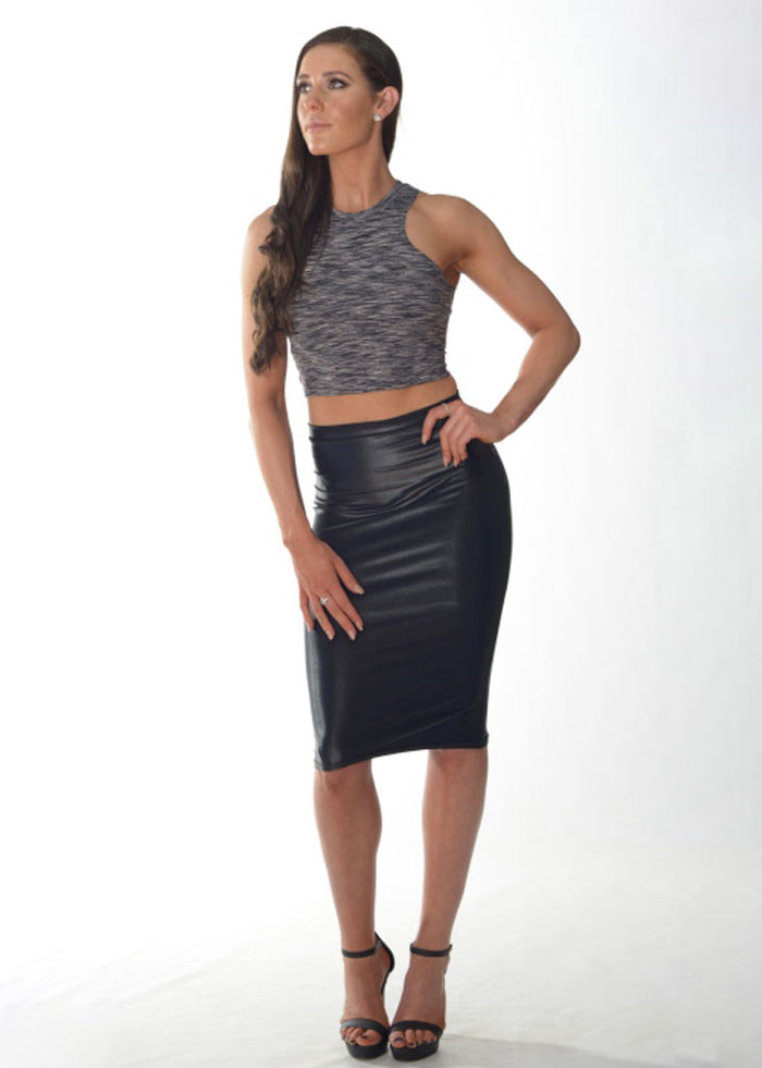 Formal Fit Crop Top (Grey Swirl Thick Straps)