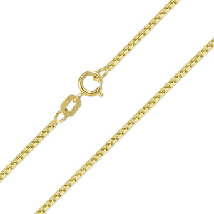 10K Solid Yellow Gold Box Chain 1.0mm 22""
