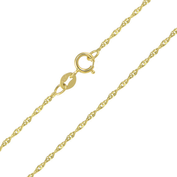 14K Solid Yellow Gold Singapore Chain 1.5mm 18""
