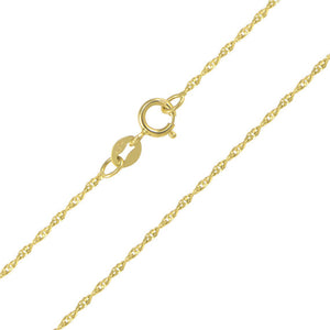 14K Solid Yellow Gold Singapore Chain 1.1mm 16""