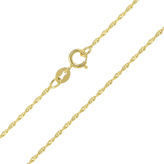 14K Solid Yellow Gold Singapore Chain 1.1mm 18""