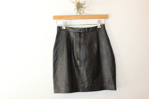 Vintage Michael Hoban Leather Mini Skirt