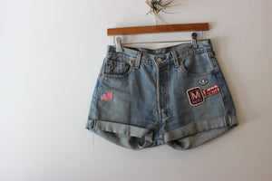 Vintage Levi's 501 Patched Denim Shorts