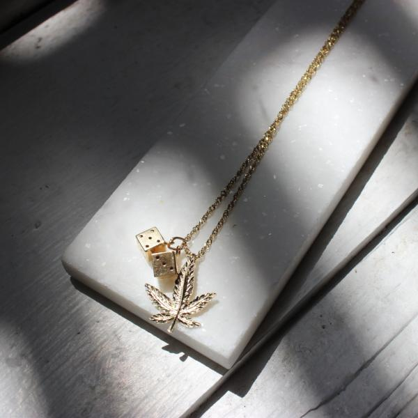 10K Solid Yellow Gold Marijuana Leaf Pendant