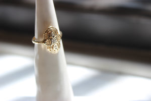 Vintage 10k Gold Art Deco Yellow Filigree Gold Diamond Ring