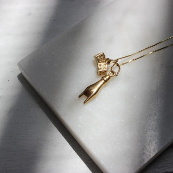 Vintage 14k Yellow Gold Mini Pair of Dice Pendant