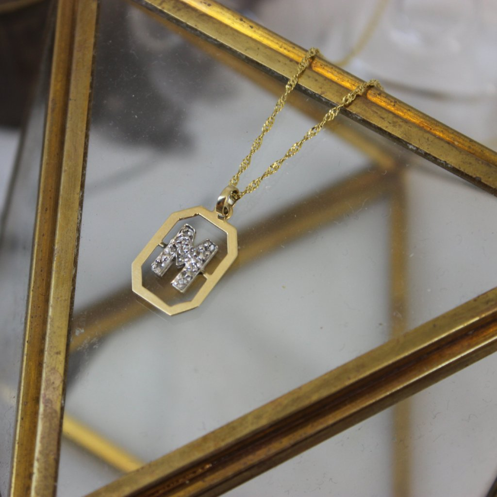 Vintage 14K Yellow Gold and Diamond M Pendant