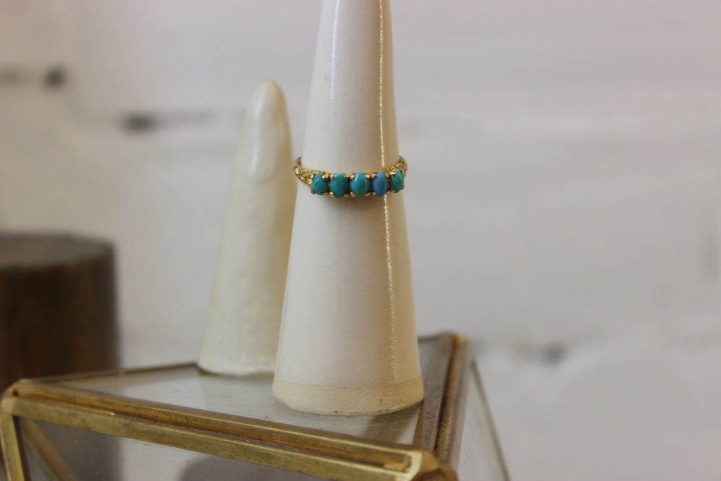 Vintage 14k Yellow Gold Victorian Turquoise Ring