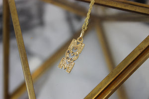 Vintage 14k Yellow Gold and Pave Diamond MOM Pendant