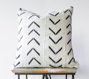 "Authentic White African 18"" Mud Cloth Pillow w/ Black Tribal"