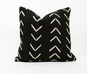 "Authentic Black African 18"" Mud Cloth Pillow w/ White Tribal"