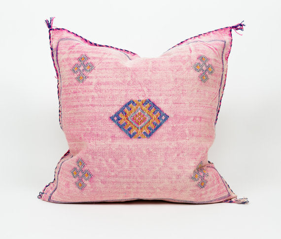 "Vintage Authentic 20"" Pink Moroccan Cactus Silk Pillow"