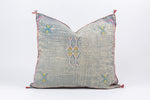 "Vintage Authentic 20"" Grey Moroccan Cactus Silk Pillow"