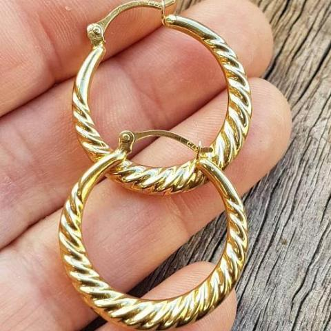 Vintage 9ct Gold Large Twist Hoop Earring