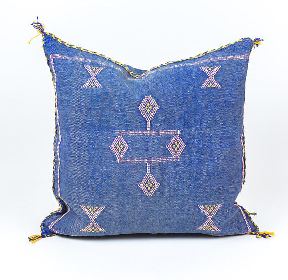 "Vintage Authentic 20"" Blue Moroccan Cactus Silk Pillow"