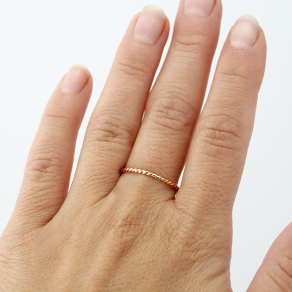 14k Yellow Gold Twist Stack Ring
